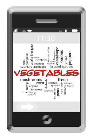 Vegetables Word Cloud Concept of Touchscreen Phone with great terms such as corn, beans, peppers and more. photo