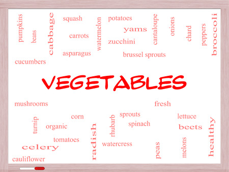 Vegetables Word Cloud Concept on a Whiteboard with great terms such as lettuce, beets, corn and more. photo