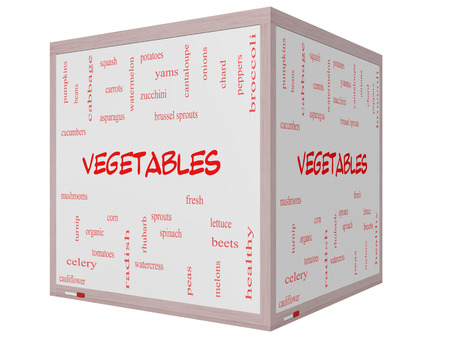 Vegetables Word Cloud Concept on a 3D cube Whiteboard with great terms such as lettuce, beets, corn and more. photo