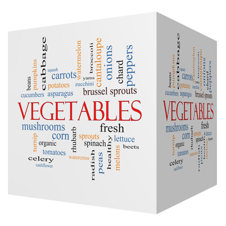 Vegetables 3D cube Word Cloud Concept with great terms such as lettuce, beets, corn and more. photo