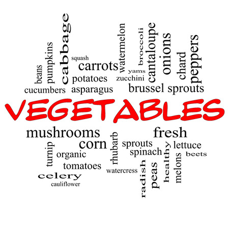 Vegetables Word Cloud Concept in red caps with great terms such as lettuce, beets, corn and more. photo