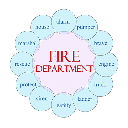 pumper: Fire Department concept circular diagram in pink and blue with great terms such as alarm, pumper, engine and more.