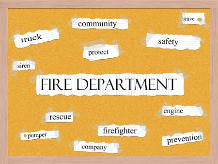 pumper: Fire Department Corkboard Word Concept with great terms such as safety, brave, rescue and more.