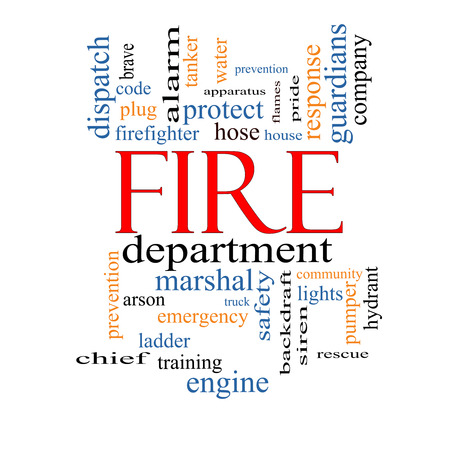 Fire Department Word Cloud Concept with great terms such as engine, truck, hose and more. photo
