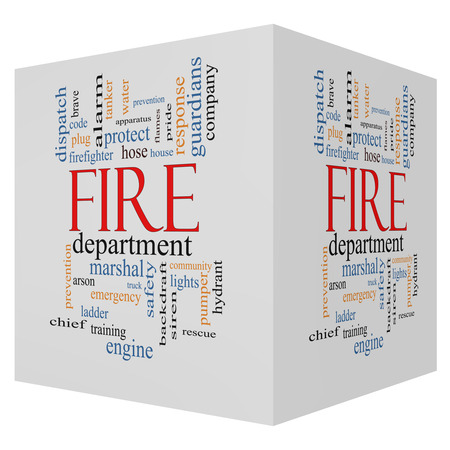 Fire Department 3D cube Word Cloud Concept with great terms such as engine, truck, hose and more. Stock Photo