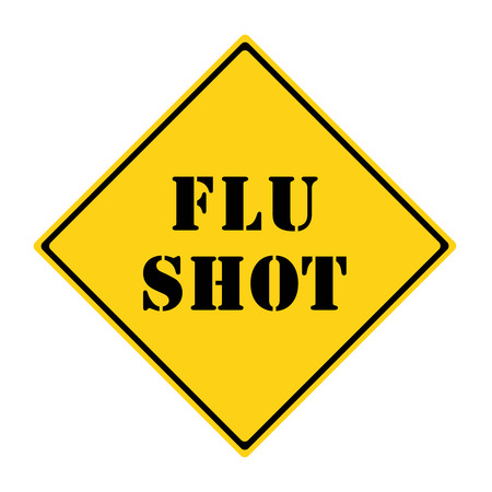 street shots: A yellow and black diamond shaped road sign with the words FLU SHOT making a great concept. Stock Photo