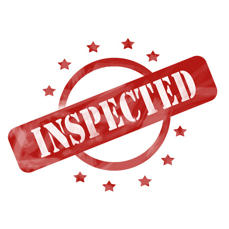 inspected: A red ink weathered roughed up circle and stars stamp design with the word INSPECTED on it making a great concept.