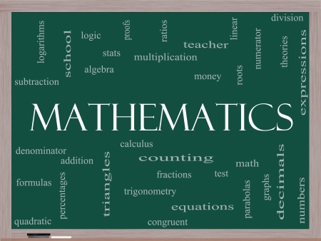Mathematics Word Cloud Concept on a Blackboard with great terms such as fractions, algebra, calculus and more. photo