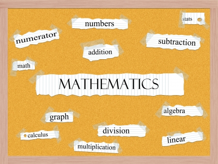 numerator: Mathematics Corkboard Word Concept with great terms such as numbers, stats, addition and more.