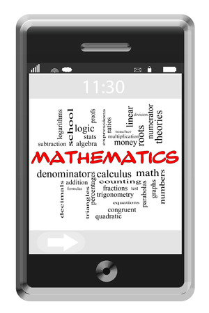 numerator: Mathematics Word Cloud Concept of Touchscreen Phone with great terms such as stats, numbers, algebra and more. Stock Photo