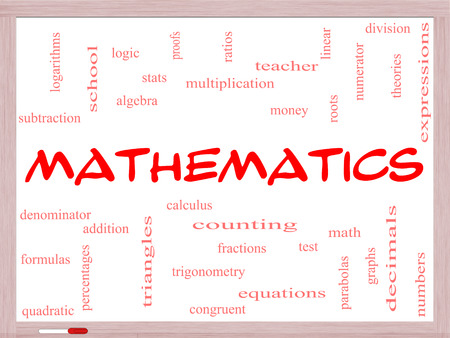 trigonometry: Mathematics Word Cloud Concept on a Whiteboard with great terms such as fractions, algebra, calculus and more.