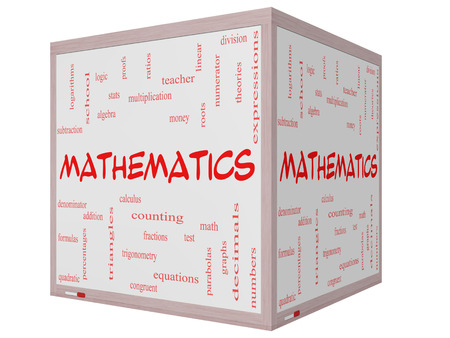 algebra: Mathematics Word Cloud Concept on a 3D cube Whiteboard with great terms such as fractions, algebra, calculus and more.