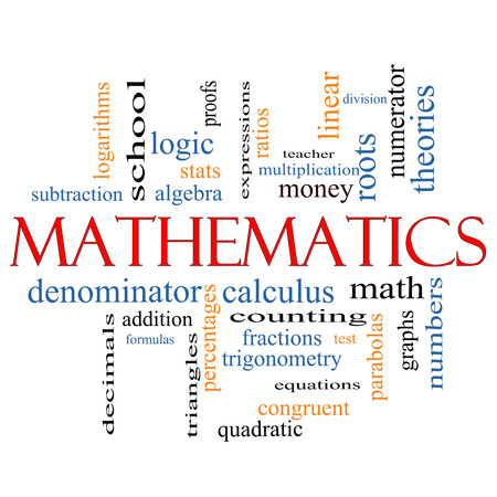 numerator: Mathematics Word Cloud Concept with great terms such as fractions, algebra, calculus and more.