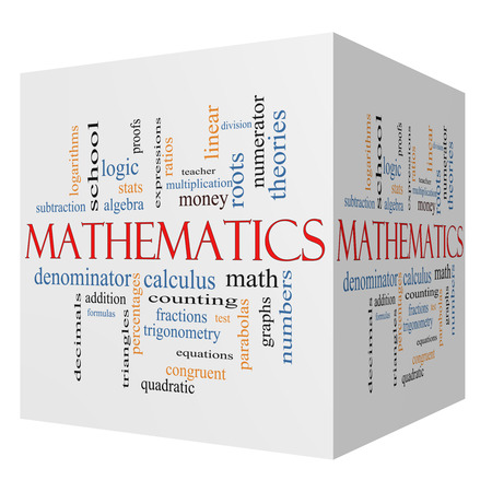 numerator: Mathematics 3D cube Word Cloud Concept with great terms such as fractions, algebra, calculus and more. Stock Photo