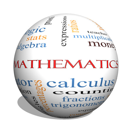 numerator: Mathematics 3D sphere Word Cloud Concept with great terms such as fractions, algebra, calculus and more. Stock Photo