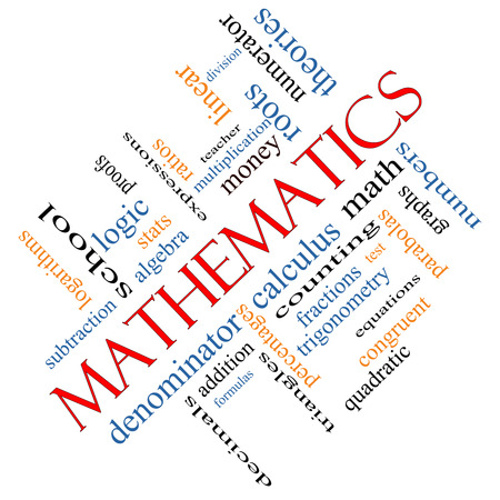 numerator: Mathematics Word Cloud Concept angled with great terms such as fractions, algebra, calculus and more.