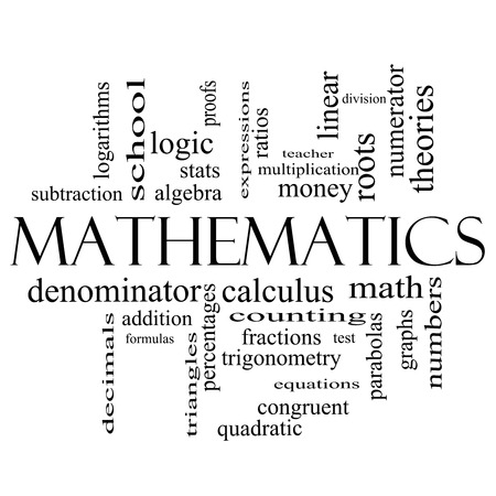 numerator: Mathematics Word Cloud Concept in black and white with great terms such as fractions, algebra, calculus and more. Stock Photo