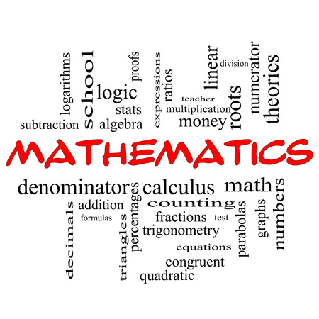 numerator: Mathematics Word Cloud Concept in red caps with great terms such as fractions, algebra, calculus and more.