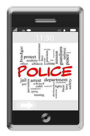 Police Word Cloud Concept of Touchscreen Phone with great terms such as serve, protect, officer and more. photo
