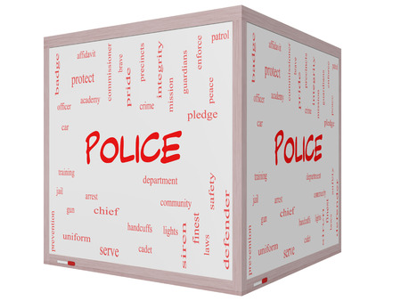 Police Word Cloud Concept on a 3D cube Whiteboard with great terms such as protect, serve, peace, brave and more.
