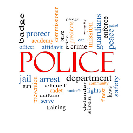 Police Word Cloud Concept with great terms such as protect, serve, peace, brave and more. photo
