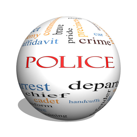 Police 3D sphere Word Cloud Concept with great terms such as protect, serve, peace, brave and more. Standard-Bild