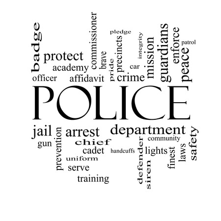Police Word Cloud Concept in black and white with great terms such as protect, serve, peace, brave and more.