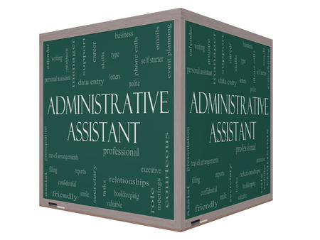 Administrative Assistant Word Cloud Concept on a 3D cube Blackboard with great terms such as professional, secretary, executive and more.