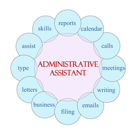 Administrative Assistant concept circular diagram in pink and blue with great terms such as reports, calendar, calls and more.