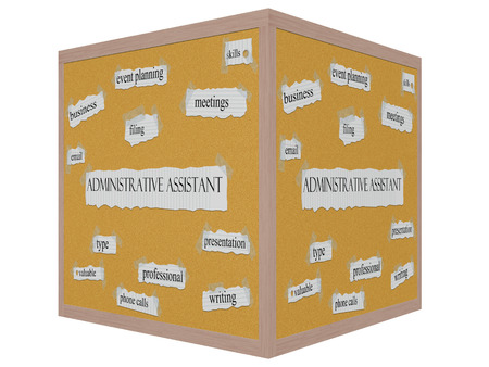 Administrative Assistant 3D cube Corkboard Word Concept with great terms such as meetings, skills, filing and more.