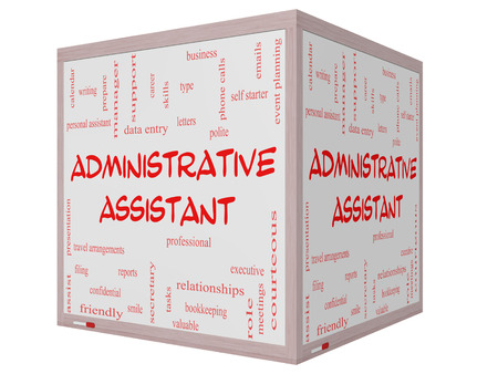 Administrative Assistant Word Cloud Concept on a 3D cube Whiteboard with great terms such as professional, secretary, executive and more. photo