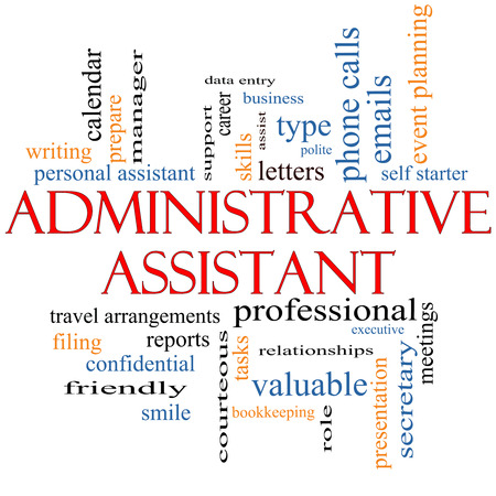 Administrative Assistant Word Cloud Concept with great terms such as professional, secretary, executive and more. photo