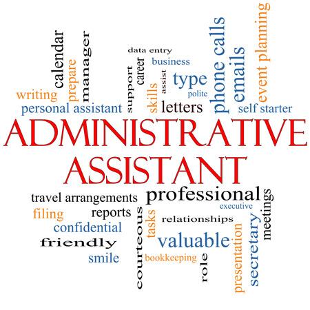 administrativo: Asistente Administrativo Palabra Nube Concepto con los términos como profesional, secretaria, ejecutivo y más.