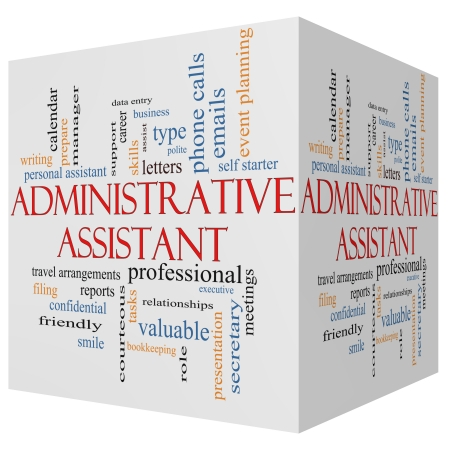 Administratief Medewerker 3D-kubus Word Cloud Concept met grote termen als professioneel, secretaresse, uitvoerende en meer.