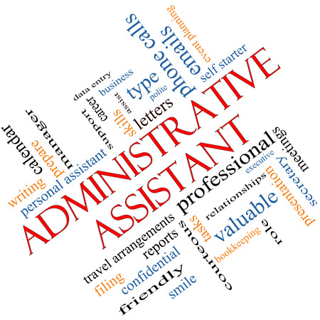Administrative Assistant Word Cloud Concept angled with great terms such as professional, secretary, executive and more. Stockfoto