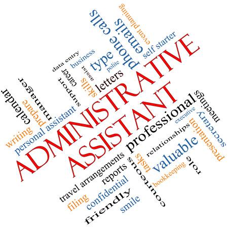 Asistente Administrativo Palabra Nube Concepto en ángulo con grandes términos como profesional, secretaria, ejecutivo y más.
