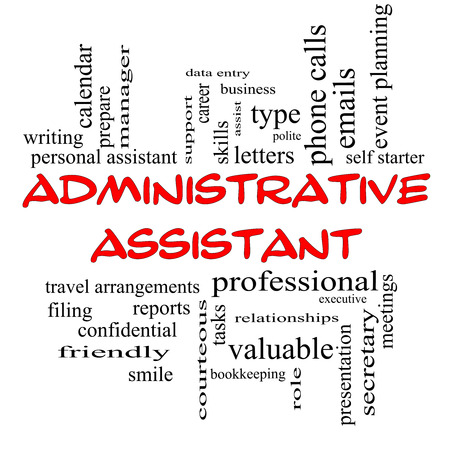 Administrative Assistant Word Cloud Concept in red caps with great terms such as professional, secretary, executive and more. Standard-Bild