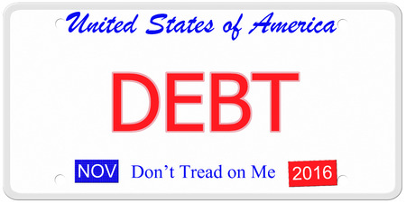 An imitation United States license plate with the words DEBT and  November 2016.  Dont tread on me on bottom. photo