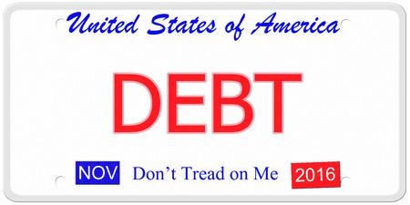 Een imitatie Verenigde Staten kenteken met de woorden schuld en november 2016. Betreed niet op me onder.