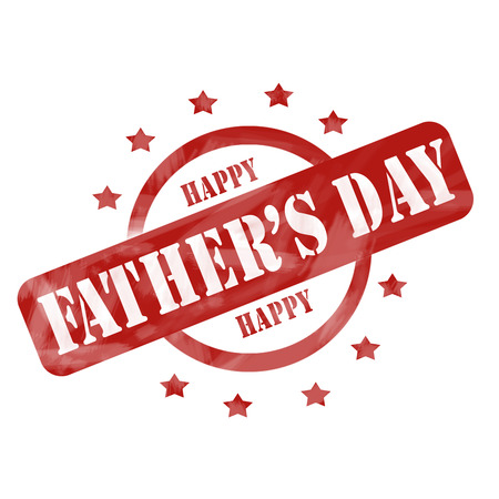 A red ink weathered roughed up circle and stars stamp design with the words HAPPY FATHERS DAY on it making a great concept. photo