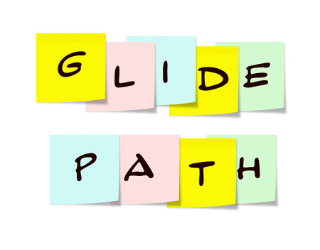 glide: A colorful array of square paper sticky notes that spell out GLIDE PATH making a great concept. Stock Photo