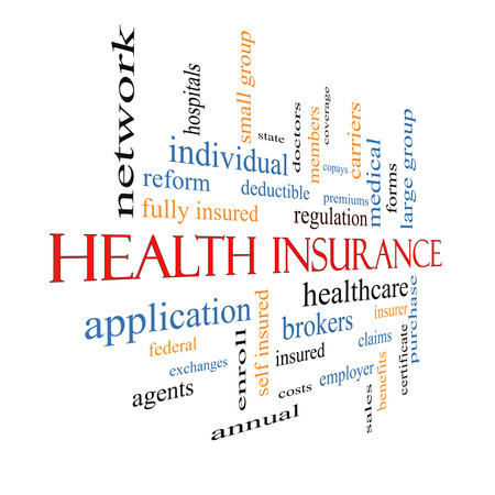 premiums: Health Insurance Word Cloud Concept fading away with great terms such as healthcare, reform, enroll, claims and more.