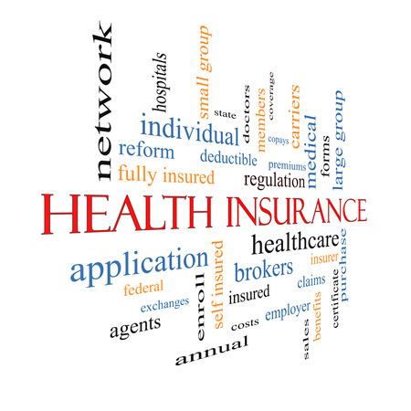 reclamos: Seguro de Salud Palabra Nube Concepto desvaneciendo con los t�rminos de la asistencia sanitaria, reforma, inscribirse, reclamaciones y m�s.