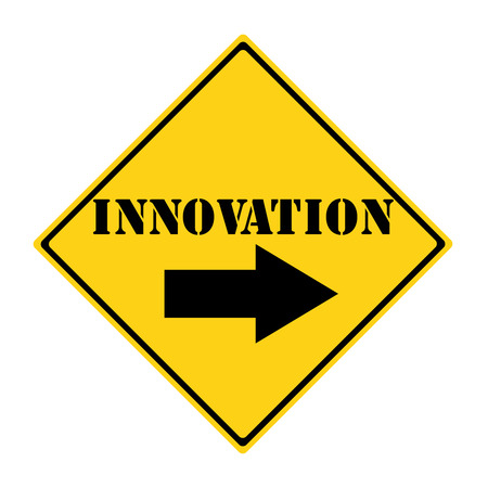 diamond shaped: A yellow and black diamond shaped road sign with the words INNOVATION making a great concept. Stock Photo