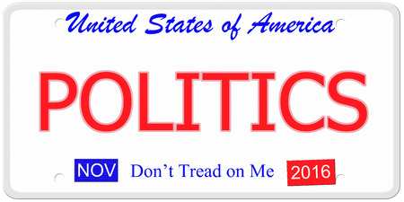 An imitation United States license plate with the words POLITICS and  November 2016.  Dont tread on me on bottom. photo
