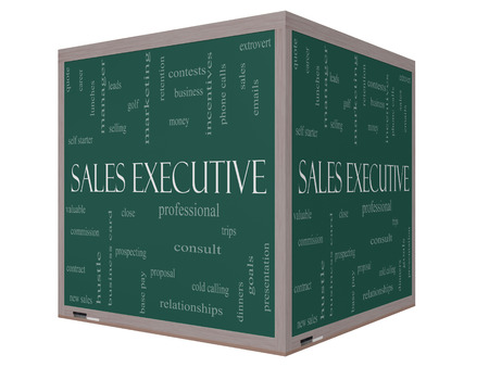 prospecting: Sales Executive Word Cloud Concept on a 3D cube Blackboard with great terms such as quote, career, prospecting and more.