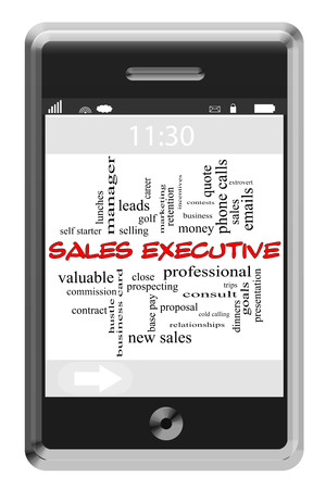 prospecting: Sales Executive Word Cloud Concept of Touchscreen Phone with great terms such as prospecting, cold calls, goals and more.