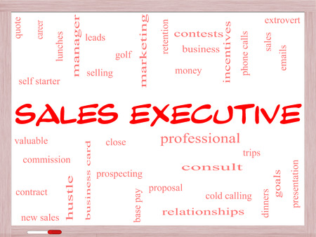 prospecting: Sales Executive Word Cloud Concept on a Whiteboard with great terms such as quote, career, prospecting and more.