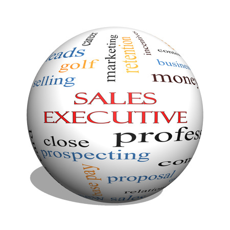 self starter: Sales Executive 3D sphere Word Cloud Concept with great terms such as quote, career, prospecting and more.