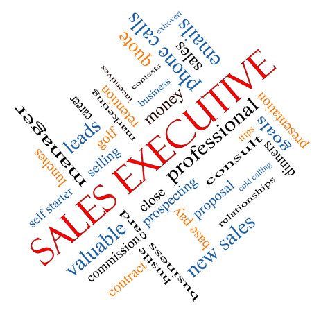 prospecting: Sales Executive Word Cloud Concept angled with great terms such as quote, career, prospecting and more.